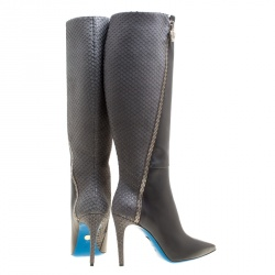 Loriblu Grey Leather and Python Embossed Zip Detail Pointed Toe Boots Size 38