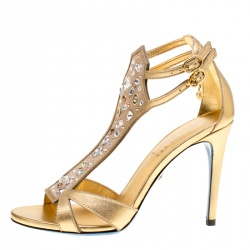 4ae425f6962 Loriblu Metallic Gold Leather and Suede Crystal Embellished Sandals Size  37.5