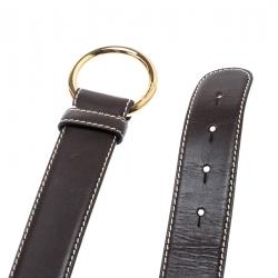 حزام لورو بيانا جلد بني بحياكة 85 سم