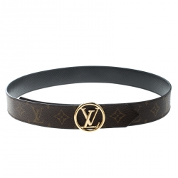 8a6769843a31 Louis Vuitton Brown Black Monogram Canvas and Epi Leather Circle Reversible  Belt Size 90 cm