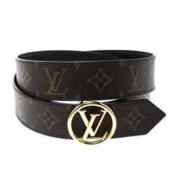 046e44bf2031 Louis Vuitton Brown Black Monogram Canvas and Epi Leather Circle Reversible Belt  Size 90 cm