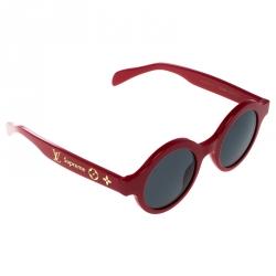 49cd0a77093 Louis Vuitton x Supreme Red  Black Z0989W Downtown Round Sunglasses