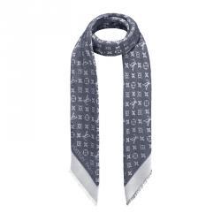 Louis Vuitton Blue Monogram Wool and Silk Shawl