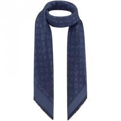 Louis Vuitton Night Blue Monogram Wool and Silk Shawl