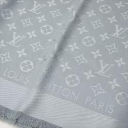 Louis Vuitton Light Grey Monogram Wool and Silk Shawl