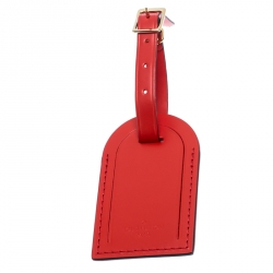 Louis Vuitton Red Leather Luggage Tag