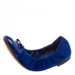 aed5f40f891b Louis Vuitton Blue Suede And Leather Elba Scrunch Ballet Flats Size 37.5