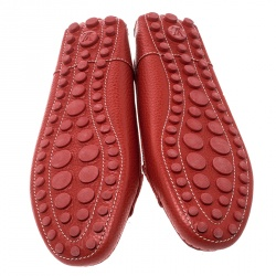 Louis Vuitton Red Leather Close Up Loafers Size 39.5