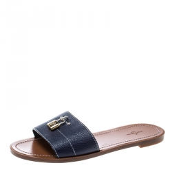 dfb29f11f Louis Vuitton Blue Grained Leather Lock It Flat Slides Size 39
