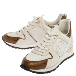 Louis Vuitton White Leather And Mesh Monogram Reverse Run Away Sneakers Size 37