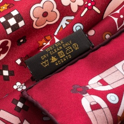 Louis Vuitton Red Printed Silk Square Scarf