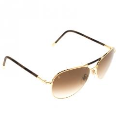 c9bafc8c1c84 Louis Vuitton Gold Brown Gradient Z0202U Damier Ebene Conspiration Pilote  Aviator Sunglasses