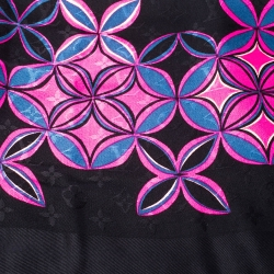 Louis Vuitton Black and Pink Silk and Wool Blend Monogram Flowergram Shawl
