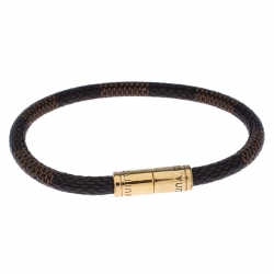 Louis Vuitton Keep It Damier Canvas Gold Tone Bracelet 18 cm