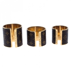 Louis Vuitton Gold Tone Nanogram Canvas Set of Three Rings