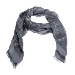 Louis Vuitton Grey Wool & Silk Monogram Shine Shawl