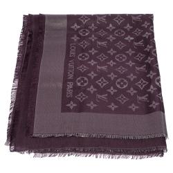 Louis Vuitton Amarante Wool & Lurex Blend Monogram Shine Shawl