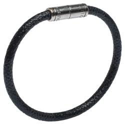 Louis Vuitton Keep It Damier Graphite Canvas Silver Tone Bracelet