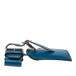 Louis Vuitton Blue Leather Luggage Name Tag & Strap Holder