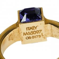 Louis Vuitton Gamble Crystal Gold Tone Ring Size L