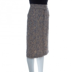 Louis Vuitton Tan and Blue Textured Fringed Pencil Skirt L