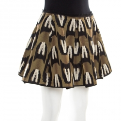 Louis Vuitton Green Fuzzy Wool Embroidered Pleated Jacquard Mini Skirt S
