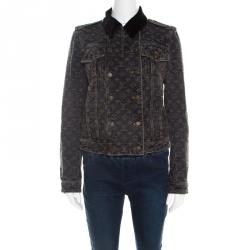 Louis Vuitton Dark Grey Monogrammed Denim Velvet Collar Detail Jacket M