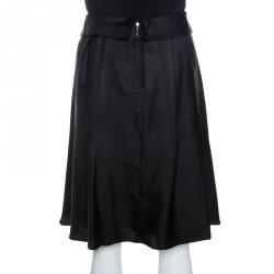 Louis Vuitton Black Silk Flared Skirt M