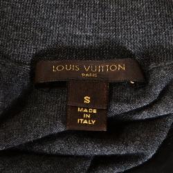 Louis Vuitton Grey Cashmere Wool Blend Monogram Button Detail Top S