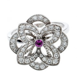 Louis Vuitton Diamond & Pink Sapphire Flower 18k White Gold Ring