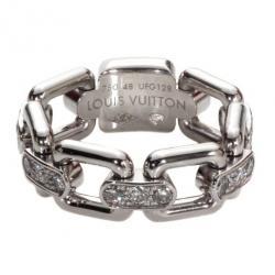 Louis Vuitton Diamond 18 K White Gold Ring Size 48