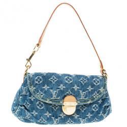 Louis Vuitton Blue Denim Monogram Mini Pleaty