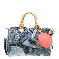 Louis Vuitton Blue Monogram Denim Limited Edition Patchwork Speedy Bag with Charm