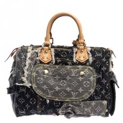 Louis Vuitton Black/Grey Monogram Denim Limited Edition Patchwork Bowly Bag