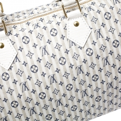Louis Vuitton Beige/Blue Monogram Mini Lin Croisette Speedy 30 Bag