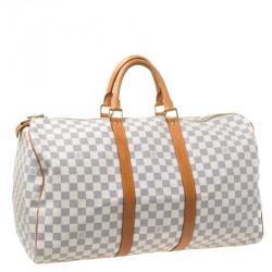 Louis Vuitton Damier Azur Canvas Keepall 50 Duffel Bag