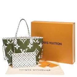Louis Vuitton Khaki Giant Monogram Canvas Neverfull MM Bag