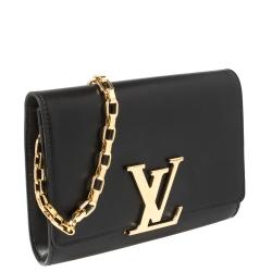 Louis Vuitton Black Leather Chain Louise GM Bag