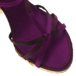 Louis Vuitton Purple Satin Feerique Morganne Wedge Sandals Size 38.5