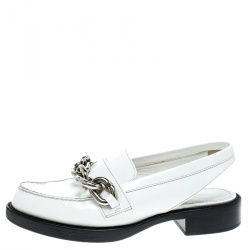 14edeb2307f Louis Vuitton White Leather Samourai Slingback Loafers Size 37.5