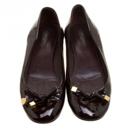 Louis Vuitton Burgundy Patent Leather Bow Ballet Flats Size 39