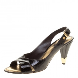 667c3ff47dc Louis Vuitton Dark Brown Monogram Vernis No Doubt! Peep Toe Slingback Sandals  Size 40