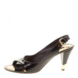 a2bef3100558b Louis Vuitton Dark Brown Monogram Vernis No Doubt! Peep Toe Slingback  Sandals Size 40