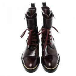 Louis Vuitton Burgundy Leather Like A Man Ranger Boots Size 37