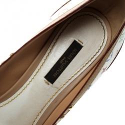 Louis Vuitton White Multicolor Monogram Canvas and Leather Studded Peep Toe Pumps Size 37.5