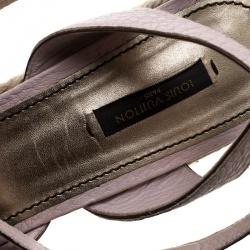 Louis Vuitton Blush Pink Leather Ankle Strap Espadrilles Wedges Sandals Size 40