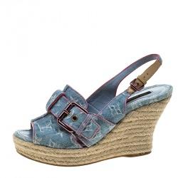 6ca2d51c5a33f Louis Vuitton Bleached Monogram Denim Espadrille Wedge Slingback Sandals  Size 38.5