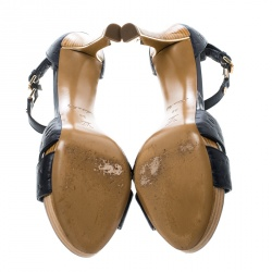Louis Vuitton Bleu Infini Monogram Empreinte Leather Ankle Strap Sandals Size 38