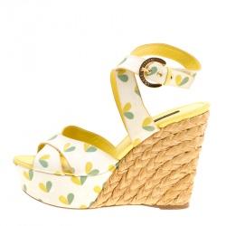 71a39c6b6d855 Louis Vuitton Printed Fabric Tuileries Raffia Wedge Cross Strap Sandals  Size 40