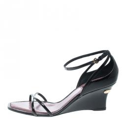 afa7e0bc2b8e Louis Vuitton Black Patent Leather Strawberry Cross Strap Wedge Sandals  Size 39